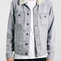 Grey Borg Collar Denim Jacket