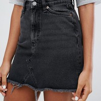 Monki Fray Hem Denim Skirt at asos.com