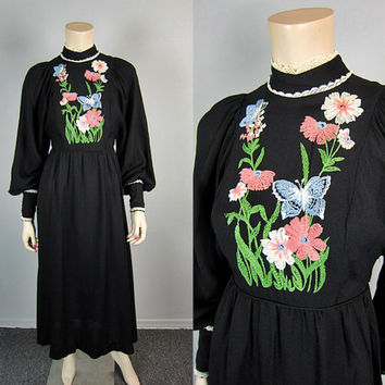 Vintage 60s 70s Hippie Embroidered Boho Maxi Dress Floral Gypsy Poet Sleeve Prairie Long Dress Woodstock 1960s 1970s Denise Are Here sz XS