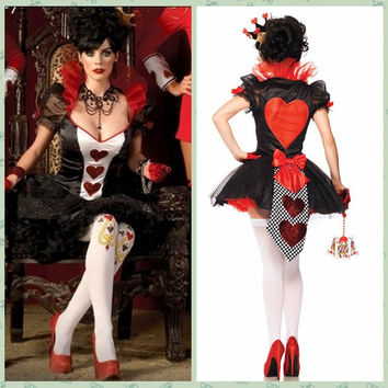 Queen of Hearts playing card poker queen dress clothes _ Las Vegas casino tycoon [8939116423]