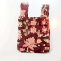 Floral Carpet Bag Purse Eggplant Purple Gray Pink Cream Fully Lined Vintage Collectible Gift Item 2266
