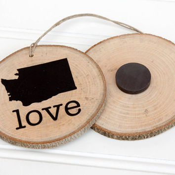 Washington Love state shape wood slice ornament or magnet Set of 4.  Wedding favor, Bridal Shower, Country Chic, Rustic, Valentine Gift