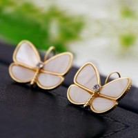 Seashell Butterfly Earrings with Rhinestone