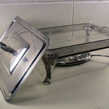 SOLD!  Vintage Silver Plate Chafing Dish Large Food Warmer