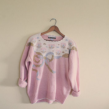 Vintage Cute Ugly Christmas Sweater Pink Gold Silver Women's Size Medium M Bow Grandma Sweater 3/4 Length Sleeves Cozy Slouchy Pastel 80s