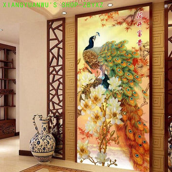 JCS Needlework,DIY DMC blooming flowers peacock Cross stitch ,The vertical version of magnolia silk XIANGYUANWU'S SHOP-ZBYXZ