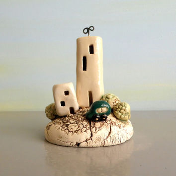 Miniature houses and miniature car , ceramic houses on clay hill , urban / sculpture / dolls and houses / gift for him / boy room / Israel