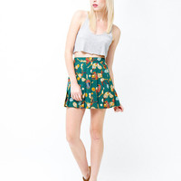 Vintage 80s Green Pleated Tennis Mini Skirt - Indie Spring Summer Fashion