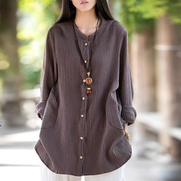 Johnature Women Double Cotton Jackets 2018 Spring New Vintage Loose Solid Color Cotton Linen O-Neck Long Sleeve Coats