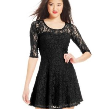 Material Girl Short-Sleeve Lace Skater Dress | macys.com