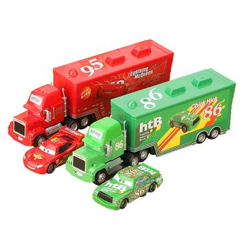 Disney Pixar Cars 3 2Pcs/Set Lightning McQueen Truck Uncle Mack The King Doc Huston 1:55 Diecast Metal Alloy Model Car Toys Boys
