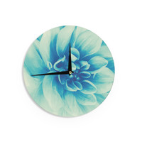 """Graphic Tabby """"Blue Beauty"""" Teal Floral Wall Clock"""