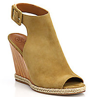 Tory Burch - Raya Suede Wedge Sandals - Saks Fifth Avenue Mobile
