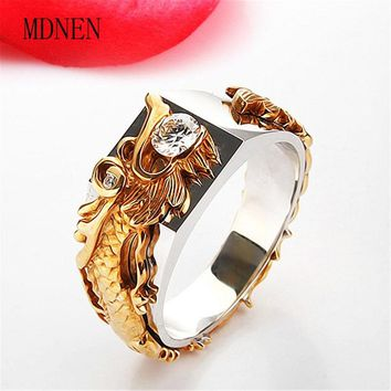 2018 new style dragon ring domineering male ring gold color 925 rings full of crystal ring A-0411