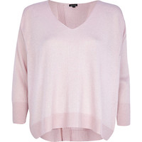 River Island Womens Light pink metallic split back sweater