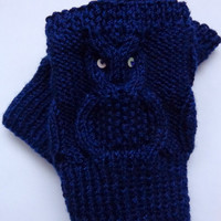 SALE! Knitted Boot Cuffs OWL  Boot Socks Boot Topper Leg in Navy Blue Or Choose your color Christmas Gift