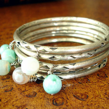 Stacked Bracelet Set: Turquoise Agate Beaded Silver Bracelets, Bohemian Gypsy Jewelry, Indian Boho Stackable Bangles, India