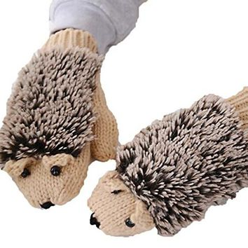Women Winter Cartoon Gloves Thick Knit Hottest Hedgehog Mittens