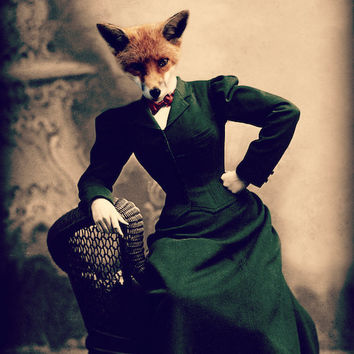 "Fox Art Print, Mixed Media Collage, ""Portrait of a Lady"" 8 x 10 Vintage Victorian Photograph, Watchful Crow"