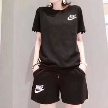 DCCKVQ8 Nike' Women Casual Letter Print Short Sleeve Shorts Set Two-Piece Sportswear