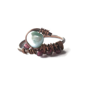 Antique Copper Wire Wrapped Ring. Blue Freshwater Pearl and Garnet Gemstones. OOAK. Gemstone Ring. Freshwater Pearl Ring. Gift Under 20