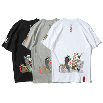 Fashion Casual Mascot Carp Pattern Print Short Sleeve T-shirt Men Shirt Top Tee