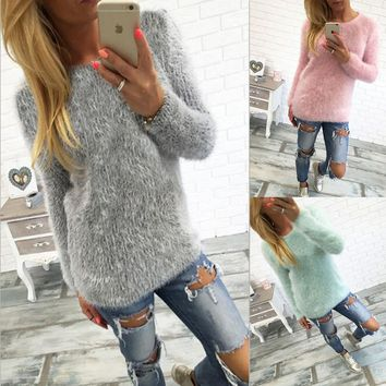 Ladies fashion printed round collar long sleeve clothes