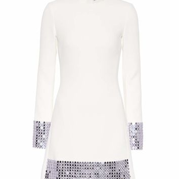 Embellished stretch wool minidress