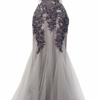 Last Call! Thread and needle embroidered Gray sheer illusion mesh lace long dress gala dress, special occasion wedding dress, mermaid dress