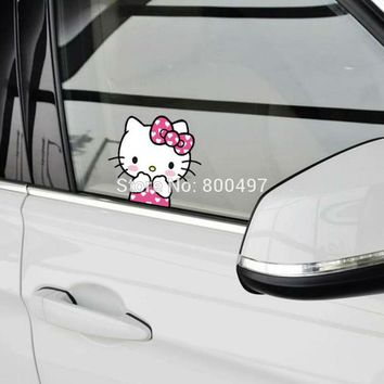 Funny Cartoon Car Styling Lovely Hello Kitty Acting Cute Decorations on the Whole Body Windows Car Stickers Car Vinyl Decals