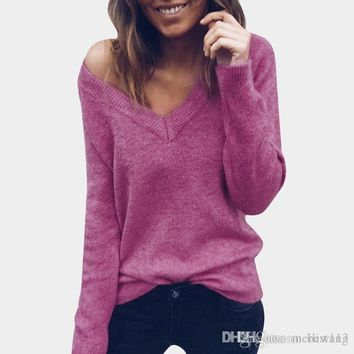 V neck women sweaters and pullovers knitted autumn winter clothing solid basic slim pullover female jumper sweater lady