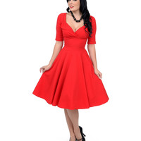 1950s Style Red Trixie Doll Stretch Swing Dress