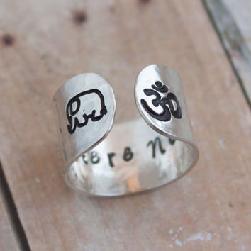 Sterling silver, Be here now secret message ring,customizable ring, OM ring, elephant ring, yoga ring, be here now, wide band silver ring