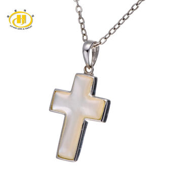 mother of pearl  solid 925 sterling silver cross pendant necklace free 18 inches chain