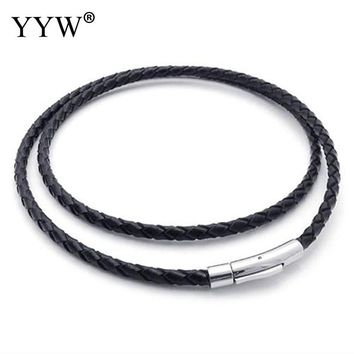 "Necklace Twisted Braided Rope Choker Black Pu Leather Cord Chain 16"" Necklace Stainless Steel Clasp String jewelry fashion women"