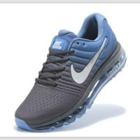 """NIKE"" Trending Fashion Casual Sports Shoes AirMax section Blue grey white-hook"