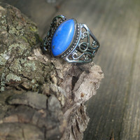 Lapis ring, lapis lazuli ring, blue ring, silver ring, size 7 1/2 ring, copper ring, 925 ring, gemstone ring, rainbow ring, antiqued ring