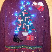 80s Vintage Light Up Ugly Christmas Sweater