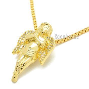 "HIP HOP 14K GOLD PLATED MIGOS ANGEL PENDANT W 3mm 24"" BOX CHAIN NECKLACE K440G"