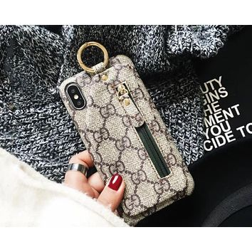 GUCCI street fashion men and women models coin purse iphone7plus mobile phone case