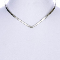 NECKLACE / V SHAPE METAL / CHOKER / TEXTURED / OPEN END / 10 INCH LONG / 1/4 INCH DROP / NICKEL AND LEAD COMPLIANT