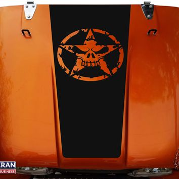 Angry Skull Hood Blackout Vinyl Decal fits Jeep CJ5 CJ7 CJ8 Scrambler