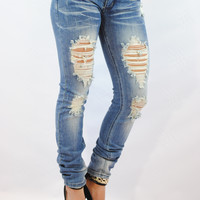 (ank) Distressed skinny jeans