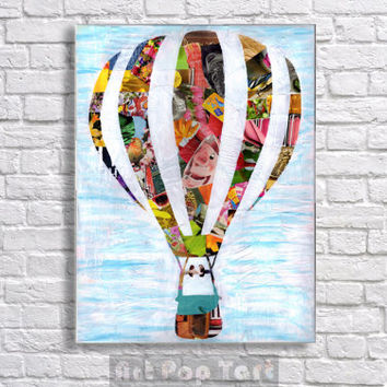 Hot Air Balloon Decorations, Hot air balloon art decor, bohemian decor, kids room art, kids room decor, children's artwork, whimsical art