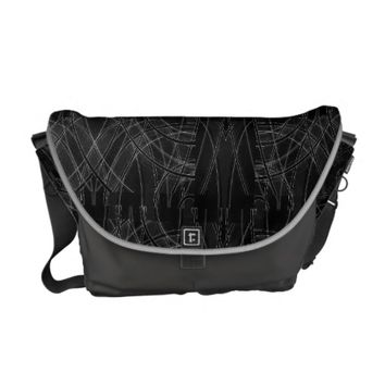Edgy Tech Distorted Plaid Messenger Bag