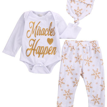 Christmas Children Clothes Baby Girl Boy Snowflake Romper Pants Leggings Hat Outfits Set Baby Clothing