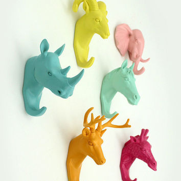 Set of 6 animal head wall hooks, Ram, Rhino, Elephant, Horse, Deer, Giraffe, wall hook, jewelry rack, animal head, christmas, new year gift