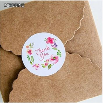 MEIDDING-100pcs/lot 3.5cm Flower Design Thank you seal sticker package paper tags labels Thanksgiving gift sticker