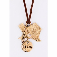 Texas Map Leather Necklace Gold