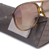 ONETOW GUCCI GG1622/S Aviator Sunglasses Shiny Havana (0791) 1622/S 791 9M 63mm Authentic